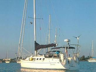 sailboat at mooring with stern arch