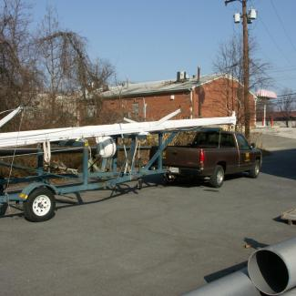 sailboat rig on trailer